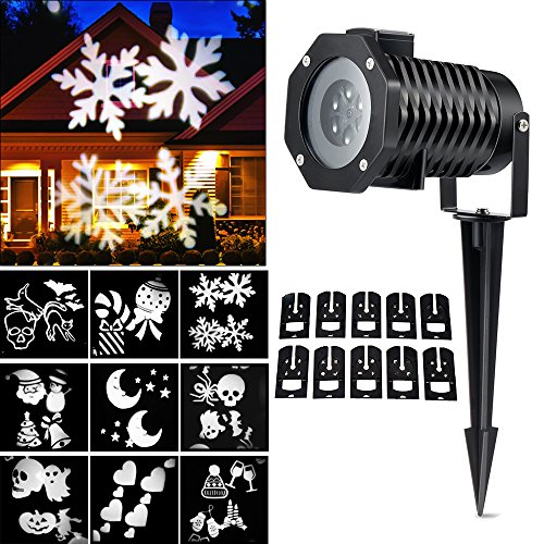 Christmas Light Projector, Ucharge Rotating Night Light Projector Snowflake Spotlight, 10 Slides White Dynamic Lighting Landscape Led Projector Light Show for Halloween, Party, Holiday Decoration