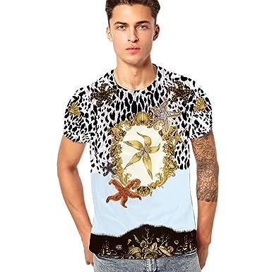 9401b0951fb Tops Hommes ADESHOP Mode T-Shirt à Manches Courtes pour Hommes Chic Imprimé  Col Rond Pull-Over Tops Chemisier Haut Les Loisirs Sport Slim ÉLasticité ...