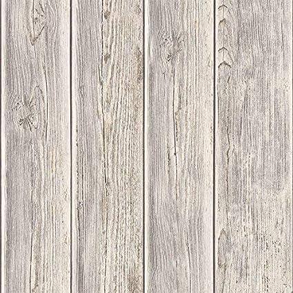 Muriva Wood Beam Panel Pattern Faux Effect Textured Vinyl Wallpaper Taupe J Amazon Co Uk Kitchen Home