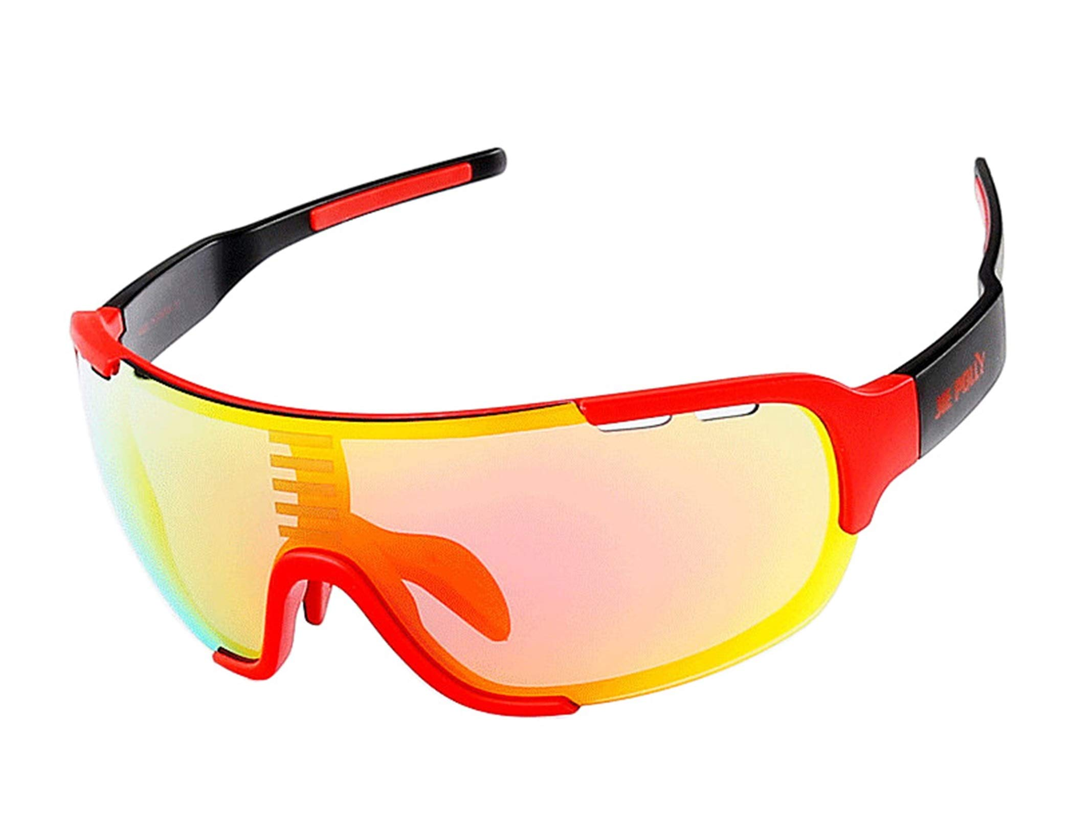 Adisaer Cycling Sunglasses Flight Jacket Cycling Color Changing Sports Fishing Outdoor Hiking Goggles Red Black for Adults