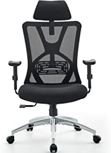 Amazon Com Ticova Ergonomic Office Chair High Back Desk Chair With Adjustable Lumbar Support Thick Seat Cushion 140 Reclining Rocking Mesh Computer Chair With Adjustable Headrest Armrest Office Products