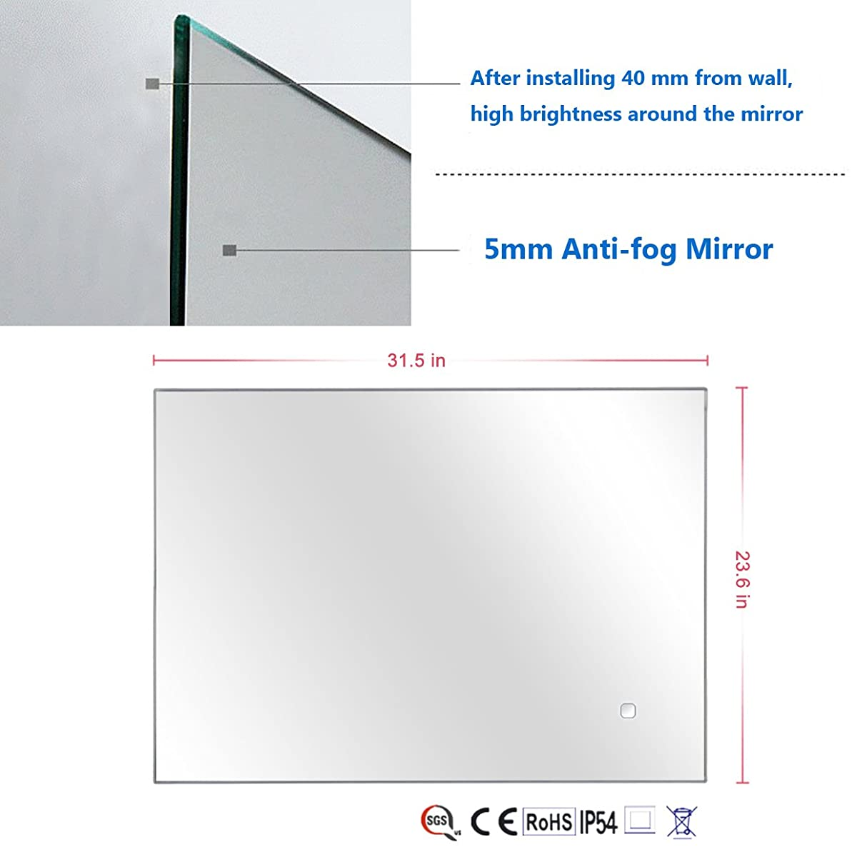 "Alice Dimmable LED Backlit Mirror Illuminated Bathroom Mirror with Anti-fog Function and Touch Botton 32""x24"""