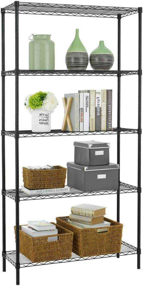 BestOffice 5 Wire Unit Storage Shelves Heavy Duty Height Adjustable Utility Commercial Grade Garage NSF Metal Shelf Organizer, 5-Tier Black,