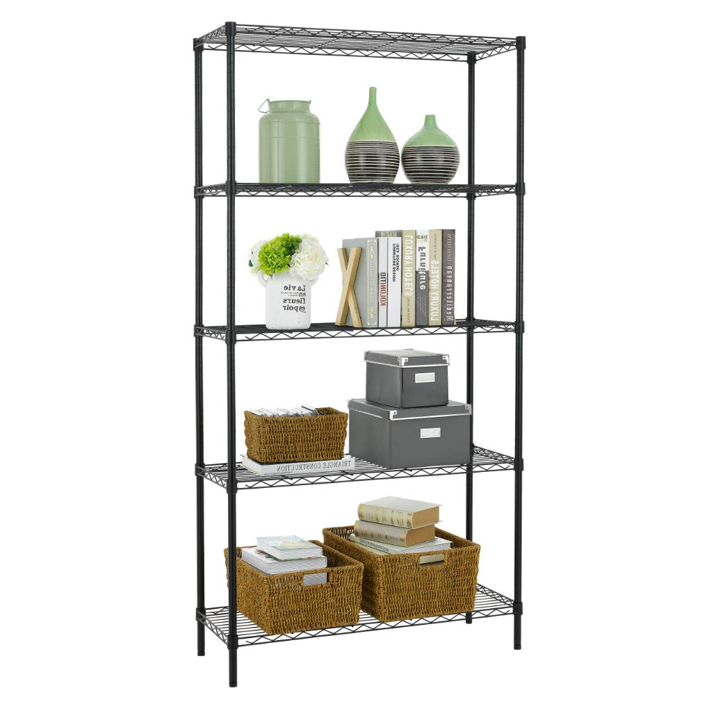 BestOffice Wire Shelving Unit Heavy Duty Metal NSF Organizer Height Adjustable Utility Rolling Steel Commercial Grade Layer Rack for Kitchen Bathroom Office, Black- 14 x 36 x 72 (5-Tier)