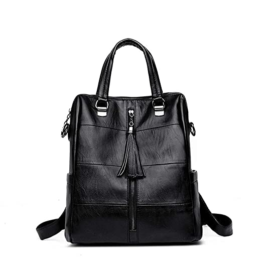 eb3b14a8d5 Image Unavailable. Image not available for. Color  Women Multifunction  Backpack Leather Tassel Shoulder Backpacks Female Zipper School Girl ...