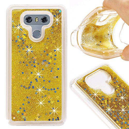 Price comparison product image LG G6 Case, KMISS Twinkle Glitter Star Liquid Flowing Floating Dynamic Luxury Bling Glitter Soft TPU Bumper Case For LG G6 (Gold)