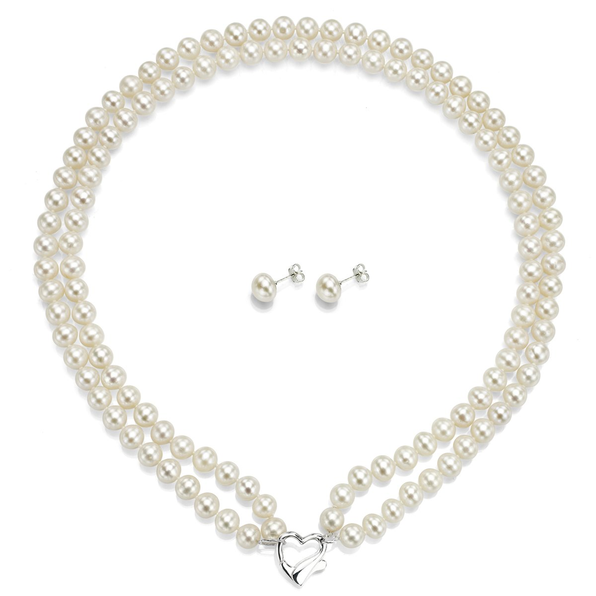 La Regis Jewelry Heart Shape Sterling Silver 2rows 7-7.5mm White Freshwater Cultured Pearl Necklace and Stud Earrings