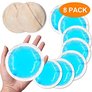 Small Round Gel Ice Packs (8 Pack), Flexible Reusable Cooling Pad with Cloth Backing, Heat or Ice Therapy for Tired Eyes, Breastfeeding, Wisdom Teeth, Kids Injuries, Sinus Relief, Muscle & Joint Pain