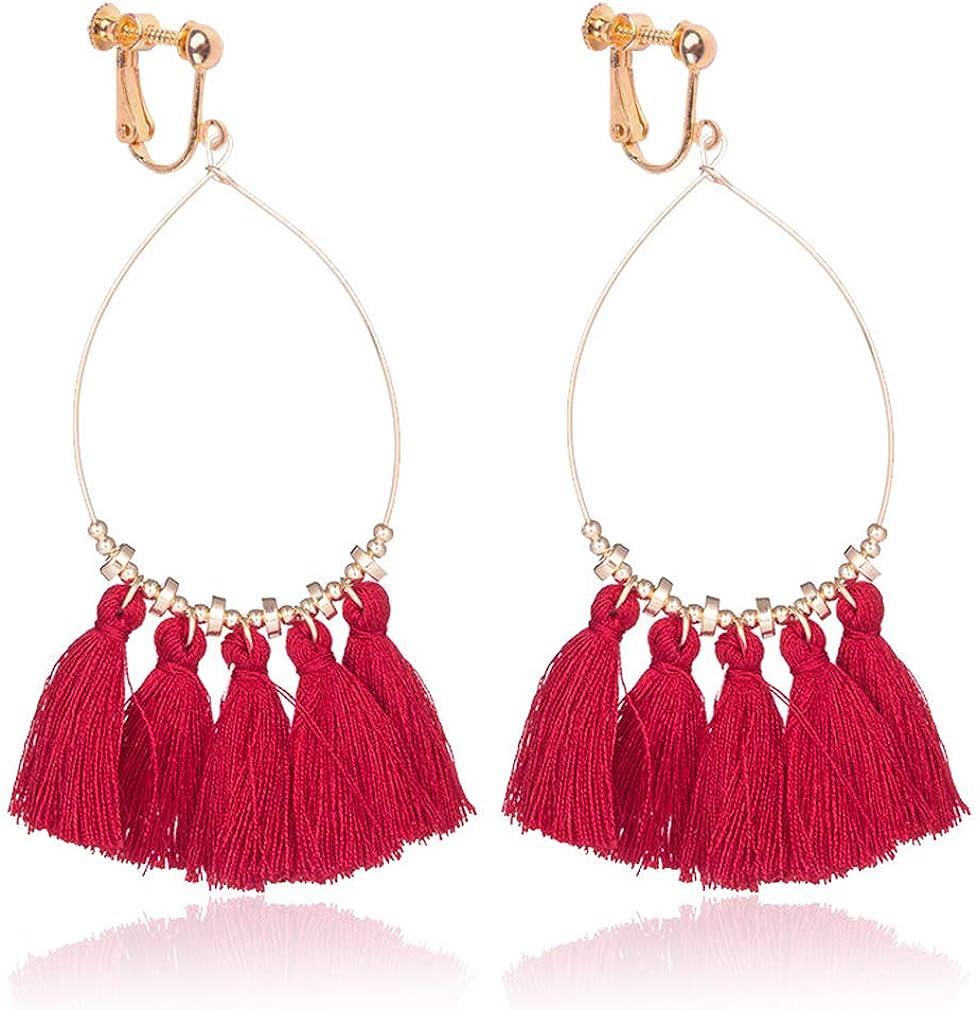 Sweet Bohemian Handmade Clip on Earrings 3 Layered Fringe Thread Tassel for Girls Women Blue
