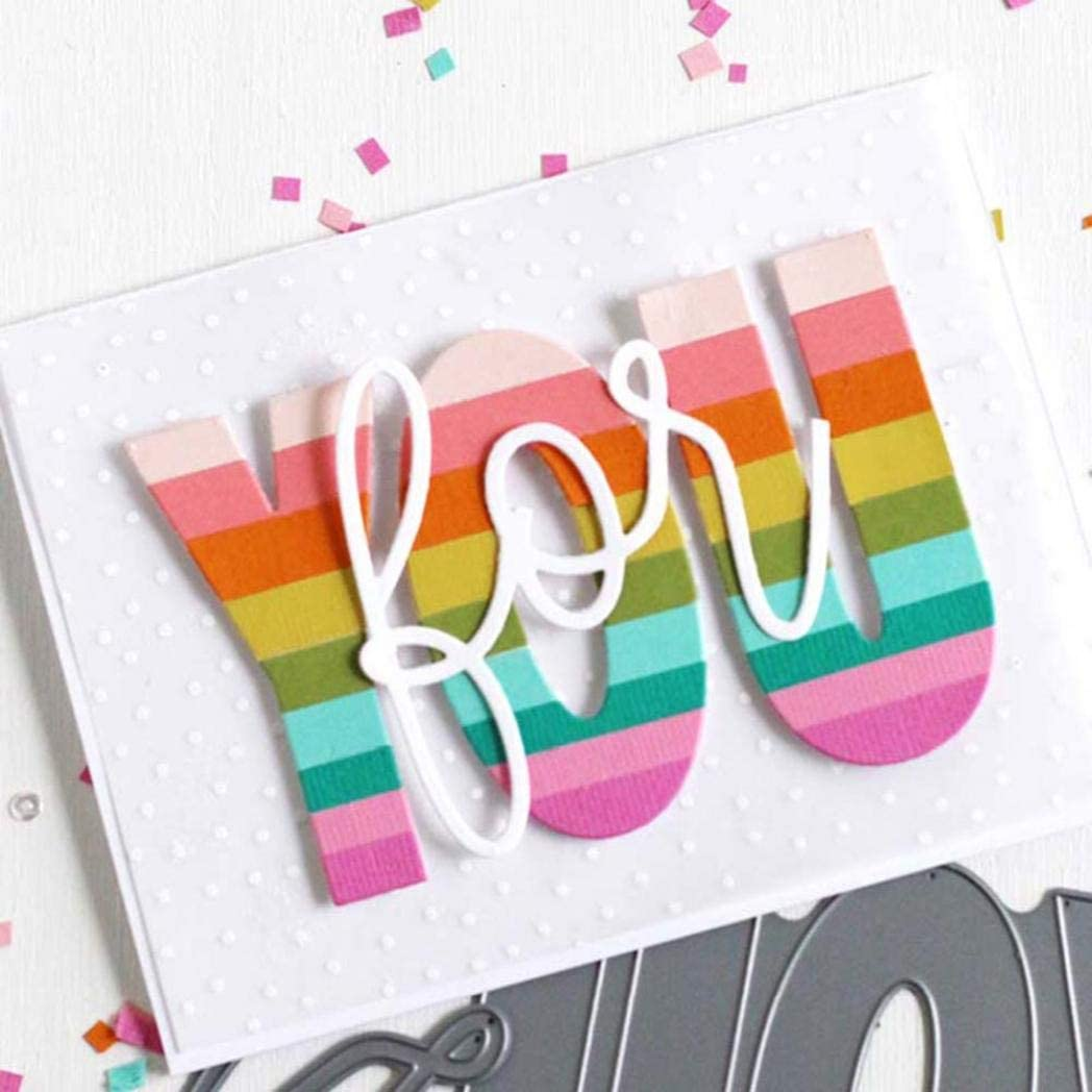 Silver 2020 New Die Cuts,dezirZJjx Letter You Metal Cutting Dies DIY Scrapbooking Paper Cards Photo Craft Stencil