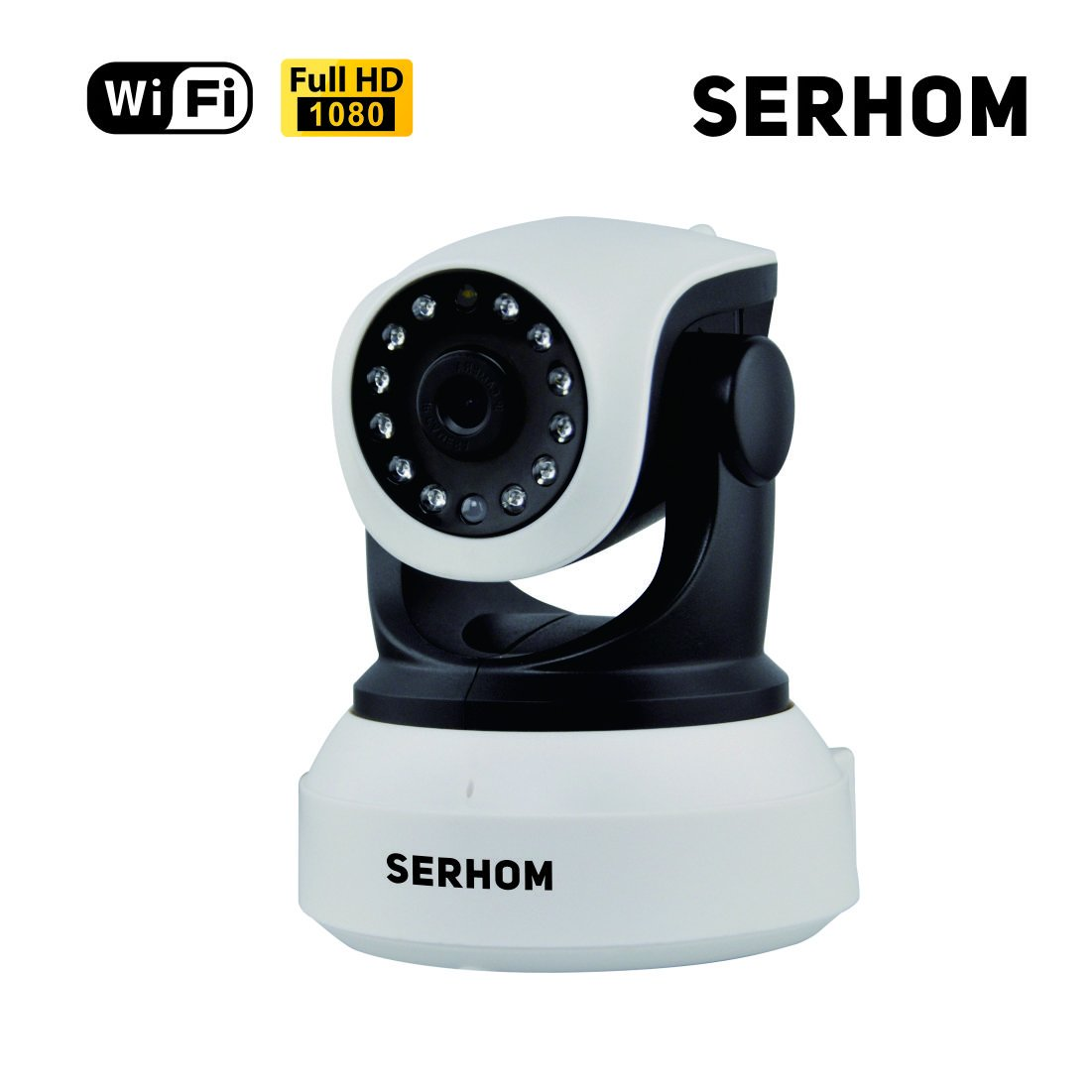 SERHOM IP Camera WIFI 1080P,Wireless Surveillance Camera,Network webcam,Two way Audio Microphone inside,Onekey WIFI Setting,Pan/Tilt Movement,Night Vision Baby Pet Video Monitor