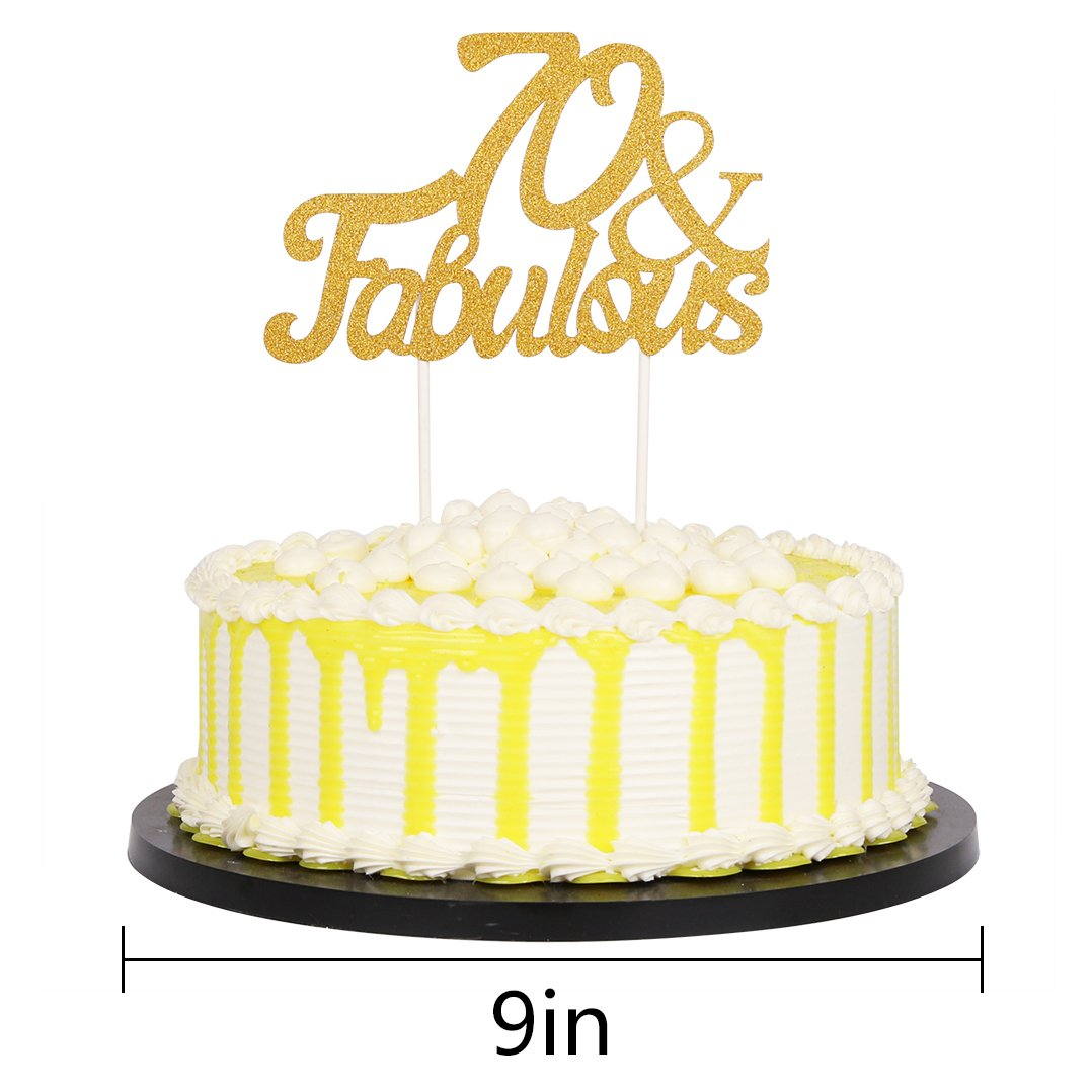 Amazon.com: PALASASA Gold Glitter 70 & Fabulous Cake Topper, Wedding ...