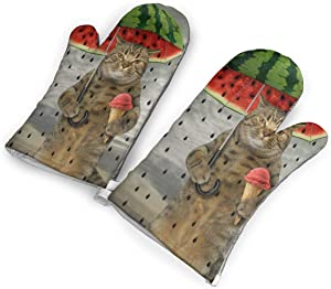 Funny Cat Rain Watermelon Day Kitchen Oven Mitts, Cotton Long Microwave Oven Gloves, Extreme Heat Resistant 572 Degrees Nonslip Gloves for Potholders Cooking, BBQ, Frying, Baking (1 Pair)