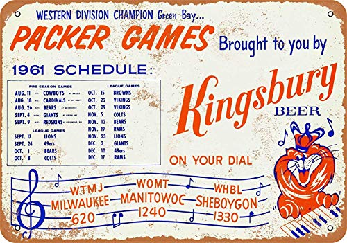 FDerks Green Bay Packers 1961 Schedule Retro Vintage Custom Metal Tin Sign Home House Coffee Beer Drink Bar 8 x 12 Inches