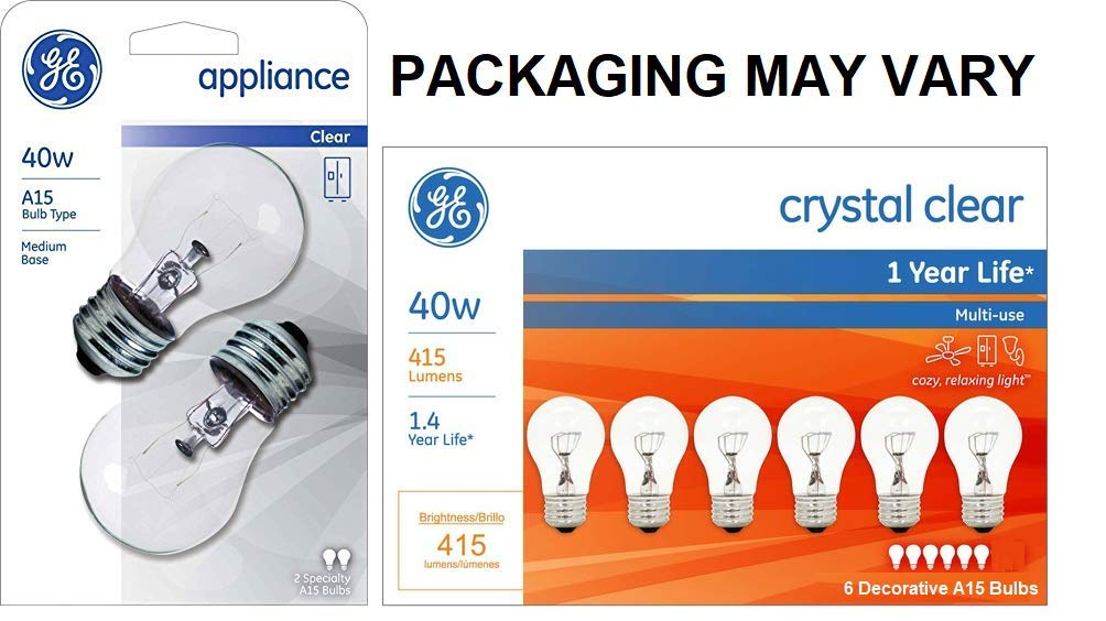 Pack of 6 GE Appliance Light Bulb 40w A15