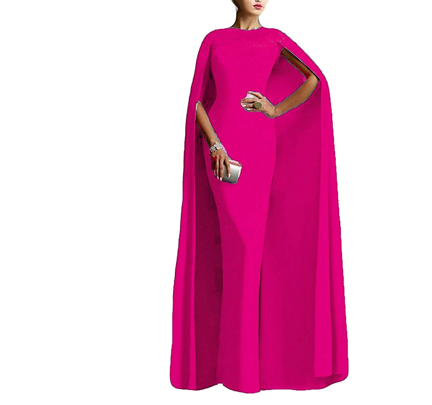 Fuchsia LiBridal Women's Mermaid Prom Evening Party Dress Long Formal Gowns with Cape