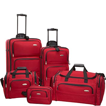 amazon com samsonite 5 piece nested luggage set red luggage sets
