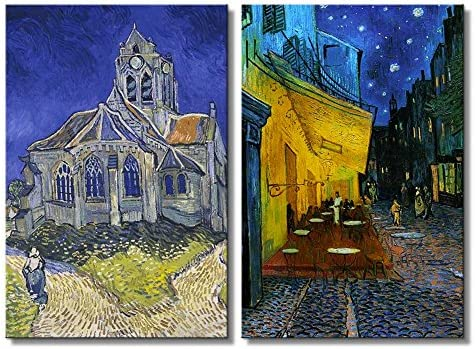 Cafe Terrace at Night The Church at Auvers by Vincent Van Gogh Oil Painting Reproduction in Set of Panels