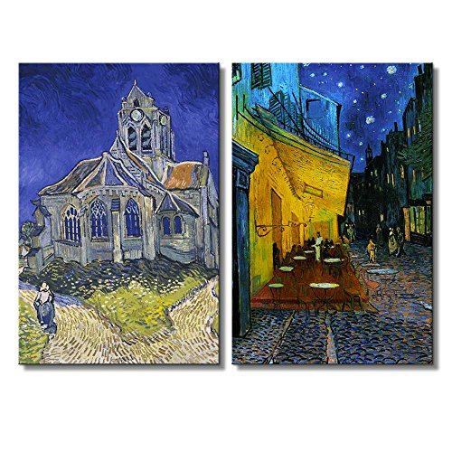 Cafe Terrace at Night The Church at Auvers by Vincent Van Gogh Oil Painting Reproduction in Set of 2 x 2 Panels