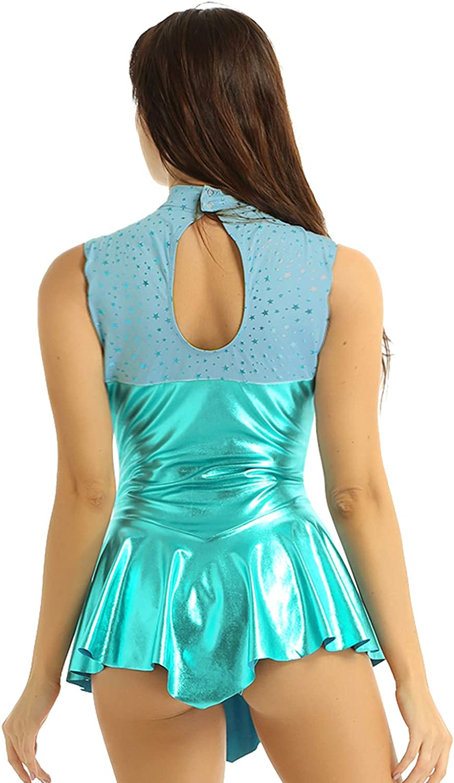 Freebily Womens Girls Shiny Metallic Mock Turtleneck Ballet Dance Gym Leotard Dress with Skirt