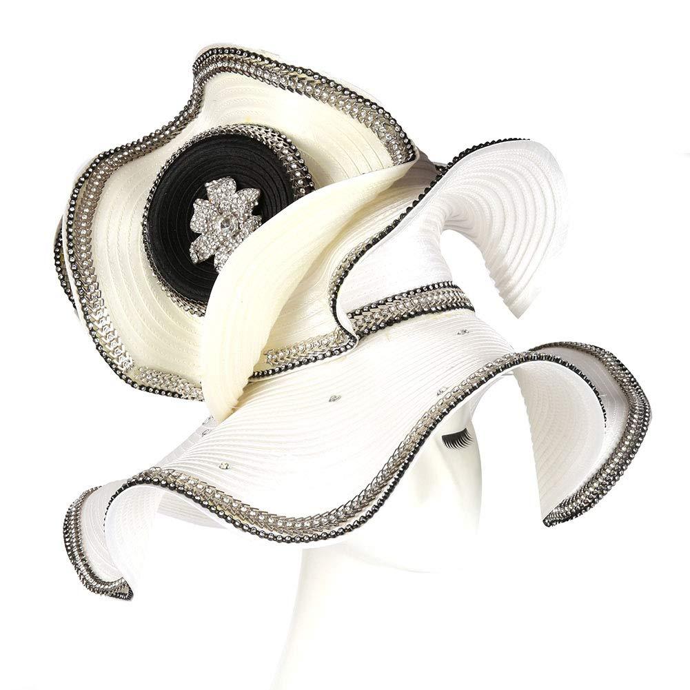 Koola Women's Silvery Church Derby Hat Big Wide Brim Wedding Hat Tea Party Hat (White)