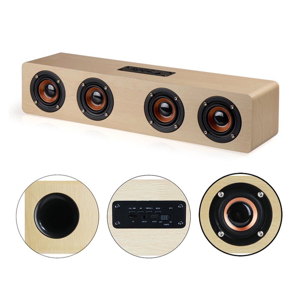 KTLEU 12W high power speakers wood Bluetooth 4.2 speakers with 12 hours of running time hifi high fidelity sound effects (yellow wood) by KTLEU