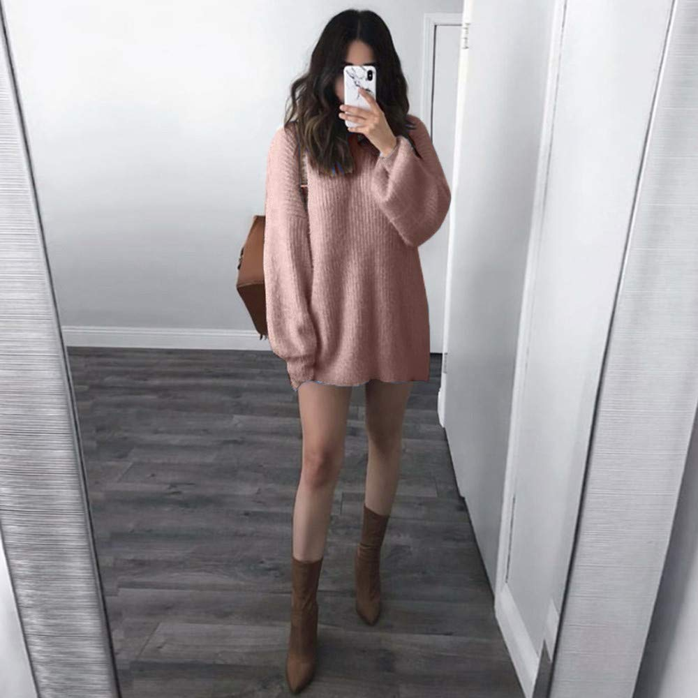 HOMEBABY Ladies Winter Sweater for Women Sale O-Neck Loose Long Sleeve Chunky Knitted Jumper Long Sweatshirt Warm Pullover Tops Blouse