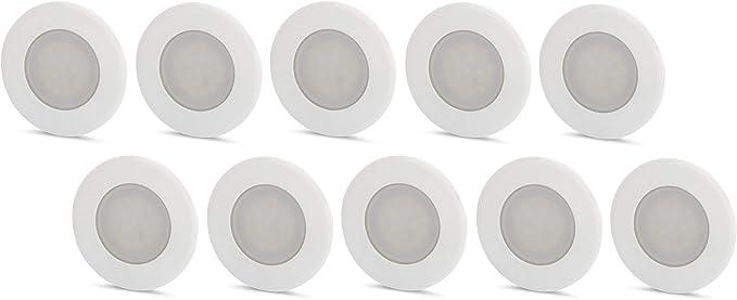 Juego de 10 lámparas LED empotrables para pared (230 V, para caja de interruptores de 60 mm, luz blanca diurna (4200 K): Amazon.es: Iluminación