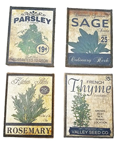 Set of 4 Herb Seed Packet Prints on Burlap Canvas 9.25