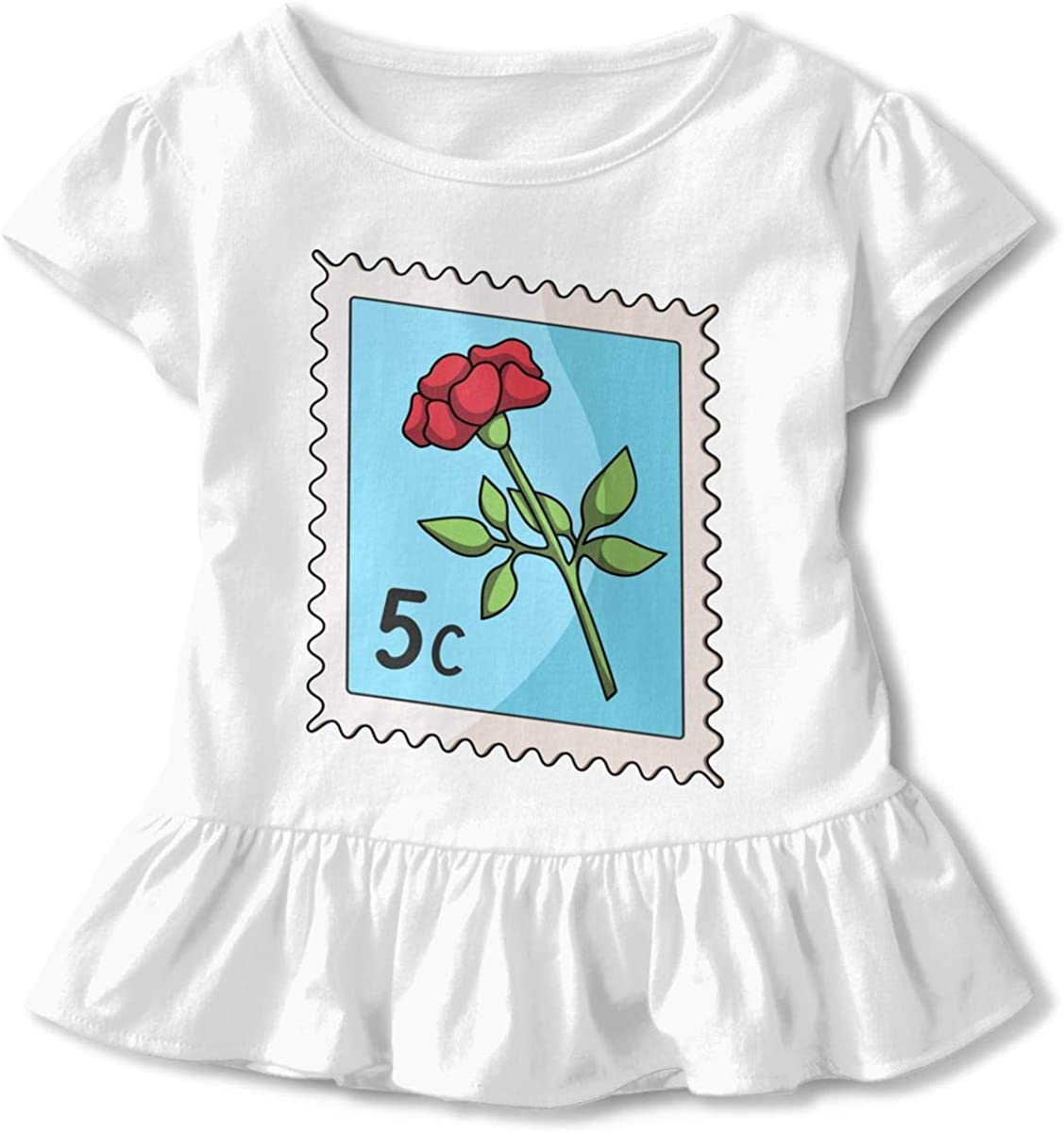 Not Available Postage Stamp Toddler Girls Short Sleeve T-Shirt Ruffles Cute Shirt Dress for 2-6 Years Old Baby