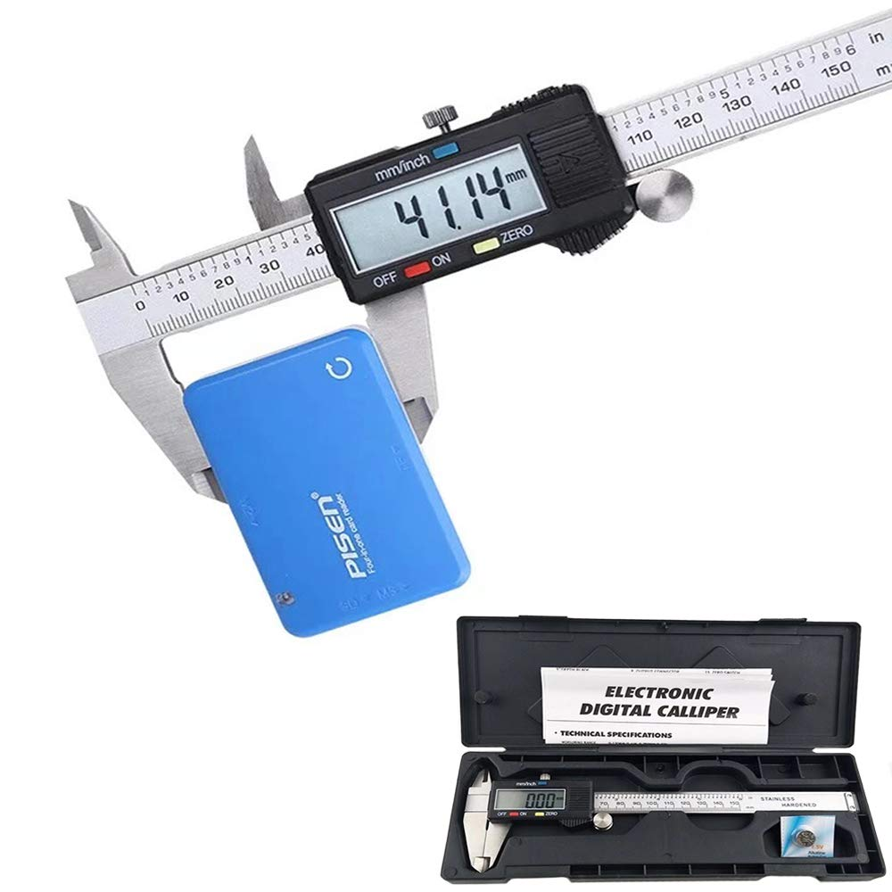 Homeet 150MM Messschieber Digitale Schieblehre 0.01MM Auflö sung Digitaler Messschieber Precise 4CR13 Edelstahl Messlehre Messwerkzeuge mit LCD-Display - Messgenauigkeit: 0, 04 mm HM1988