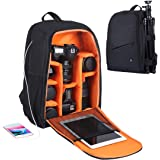 PULUZ Camera Backpack Waterproof Shockproof Camera Bag with rain Cover for DSLR SLR Cameras Lenses 15.6in Laptop Tablet Photography Accessories (Size: 11.8x7.68x16.9 inches / 30x19.5x43 cm) - Black