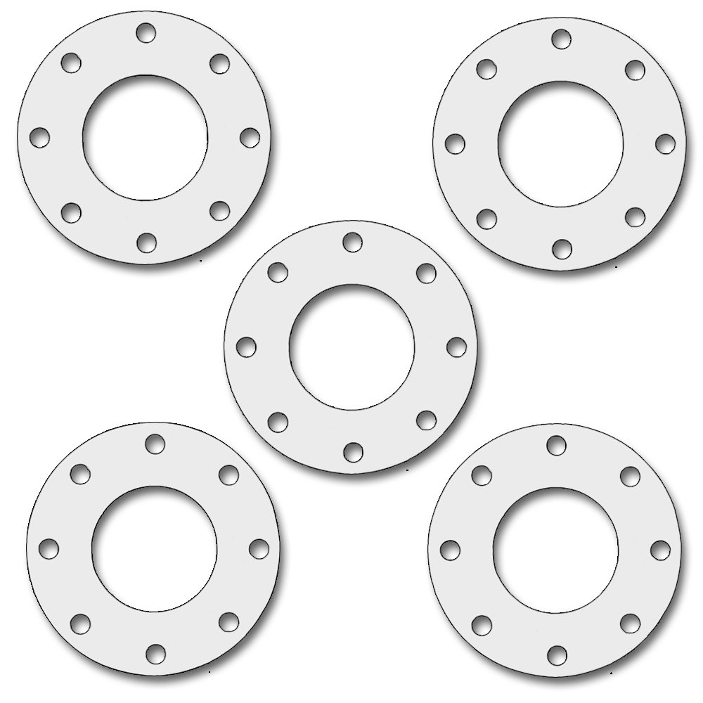 Pack of 5 1//32 Thick Sterling Seal CFF7530.5IN.031.300X5 7530 Full Face Gasket Virgin Teflon 5 Pipe Size PTFE Pressure Class 300# White