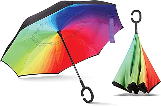 Rainbow Colored Piano Keys Double Layer Windproof UV Protection Reverse Umbrella With C-Shaped Handle Upside-Down Inverted Umbrella For Car Rain Outdoor