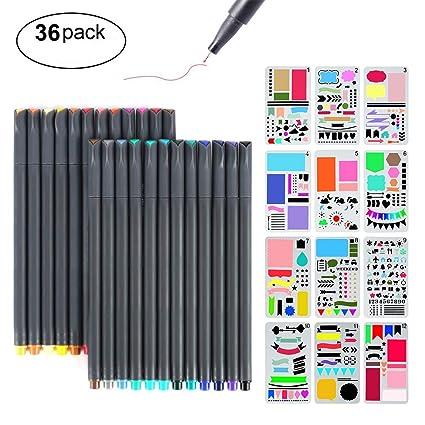 Bullet Journal Stencil Kit, MaleDen 24 Colored Fine Tip Markers Planner Pens with 12 Journaling Stencils Set for Notebook Diary Calendar Scrapbook ...