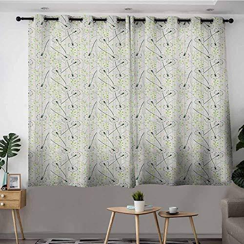 DGGO Window Curtain Panel,Dandelion Blowball Flower Pattern with Retro Inspirations Summer Flora Design,Darkening Thermal Insulated Blackout,W55x39L Apple Green Emerald