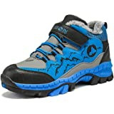 Boys Hiking Boots Kids Walking Winter Climbing Shoes Snow Fur Lined Childrens Trainers Outdoor Warm Boots School Waterproof Blue Green Orange 30-40