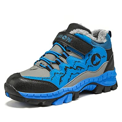 1144f25ea9abe1 Wanderschuhe Jungen Trekking Schuhe Wanderstiefel Kinder Winterschuhe Warm  Gefüttert Stiefel Schnee Outdoor Camping Rutschfeste Blau Grün