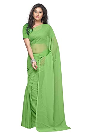 64b26246ab SSE PISTA GREEN PLAIN FAUX GEORGETTE SAREE: Amazon.in: Clothing &  Accessories