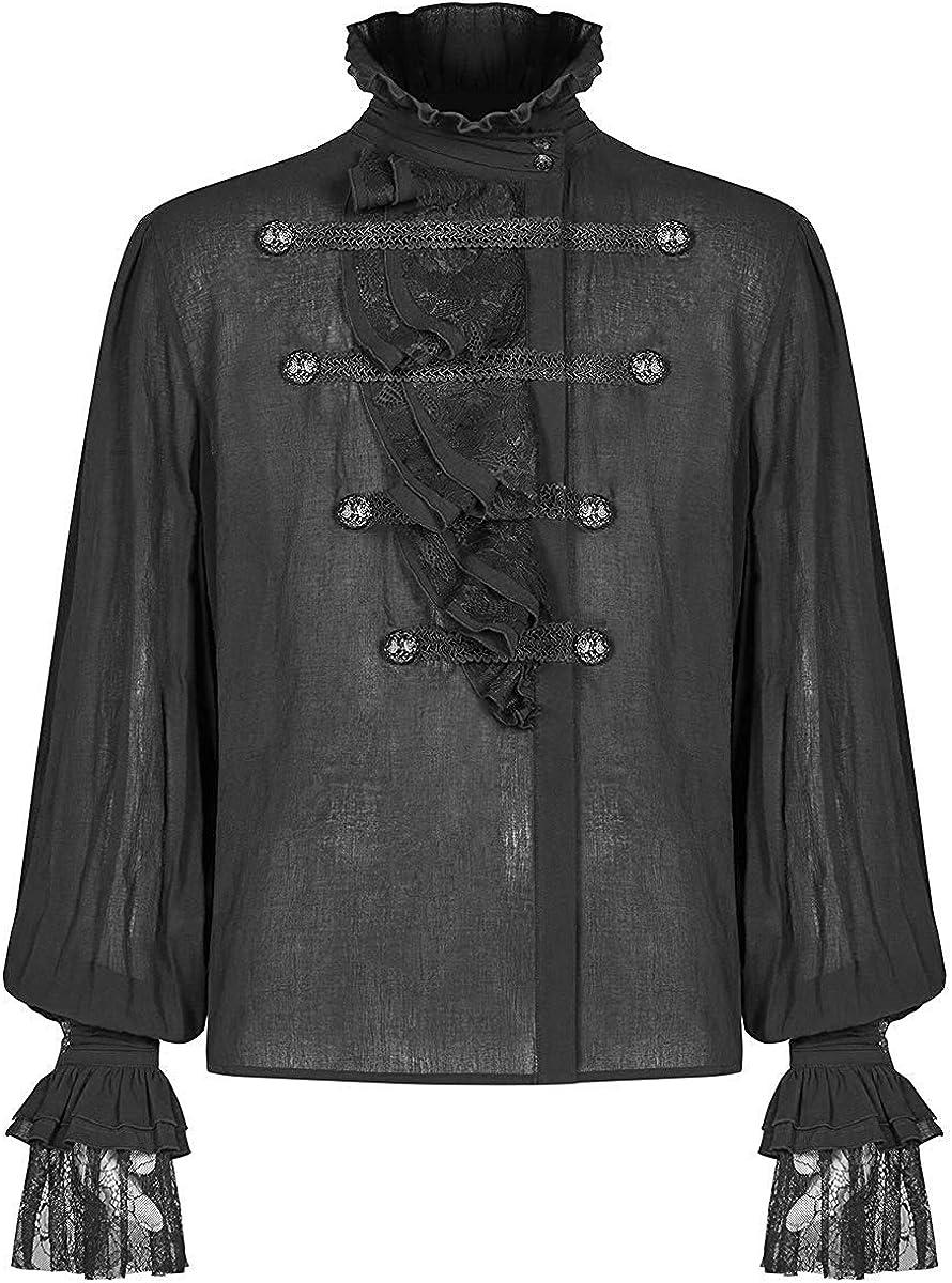Punk Rave Gótico para Hombre Camisa Top Negro Steampunk Regency Aristocrat Volante de Encaje Vintage Dandy: Amazon.es: Ropa y accesorios