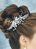 Kercisbeauty Handmade Headband Wedding Bridal or Flower Girl Silver Blue Crystal Pearl Beads Leaf Leaves Spring Headband with Ribbon and Hair Pin Pearl Leaf Pendant Earrings Headpiece Hair Vine Bridal Accessories Super Flash Party Accessories,Long Hair Curly Hair Accessories Gift for her for friend,Bridesmaid,Birthday Gift,Festival Banquet,Ball,Feast Accessory