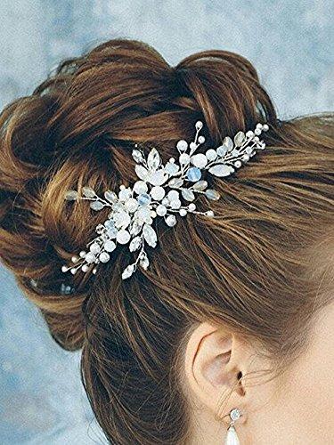 (Kercisbeauty Handmade Bridal Bridesmaids Adjustable Hair Comb Blue Crystal Beads Spring Headband with Ribbon Headpiece Hair Vine Wedding,Banquet,Ball,Feast Accessory )