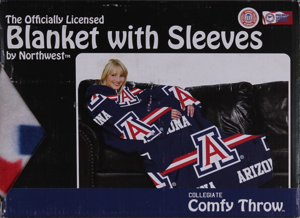 The Northwest Company Comfy Throw Fleece Blanket with Sleeves Licensed College- University of Arizona Wildcats