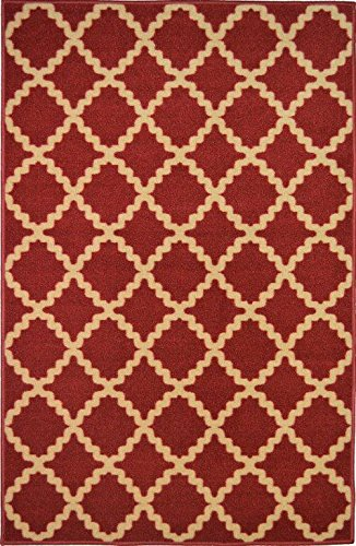 Area Large Rug 6' (ADGO Collection, Modern Contemporary Rectangular Design Rubber-Backed Non-Slip (Non-Skid) Area Rugs| Thin Low Profile Indoor/Outdoor Floor Rug (6' x 9', AD10070 - Cherry Red Beige))