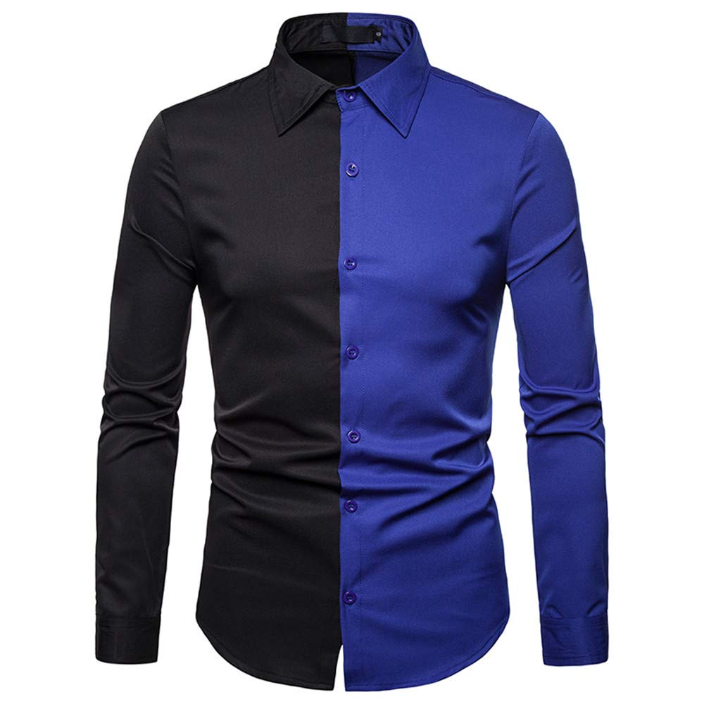 GREFER Men's T Shirt Spring Fashion Casual Color Patch Slim Fit Long Sleeve Top Blouse Blue by GREFER