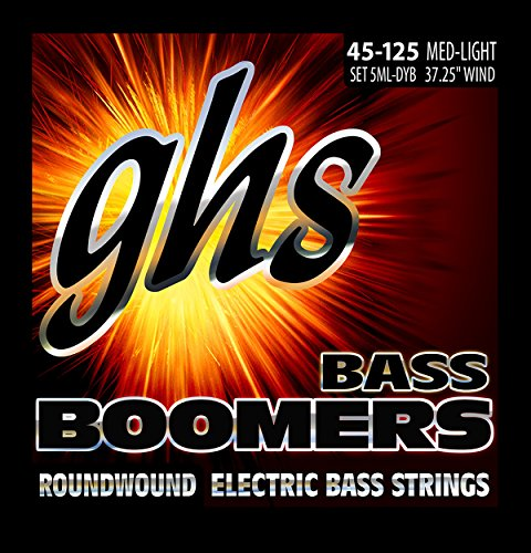 GHS Strings 5 Boomers, Nickel-Plated Electric Bass Strings, Long Scale, Medium Light (.045.126) (5ML-DYB)