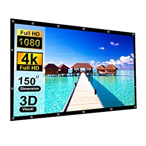 150 Inch Projection Screen,Blibro 16:9 HD Foldable Anti-Crease Video Screen Portable Indoor Outdoor Projector Movies Screen for Home Theater Support Double Sided Projection 4K 3D
