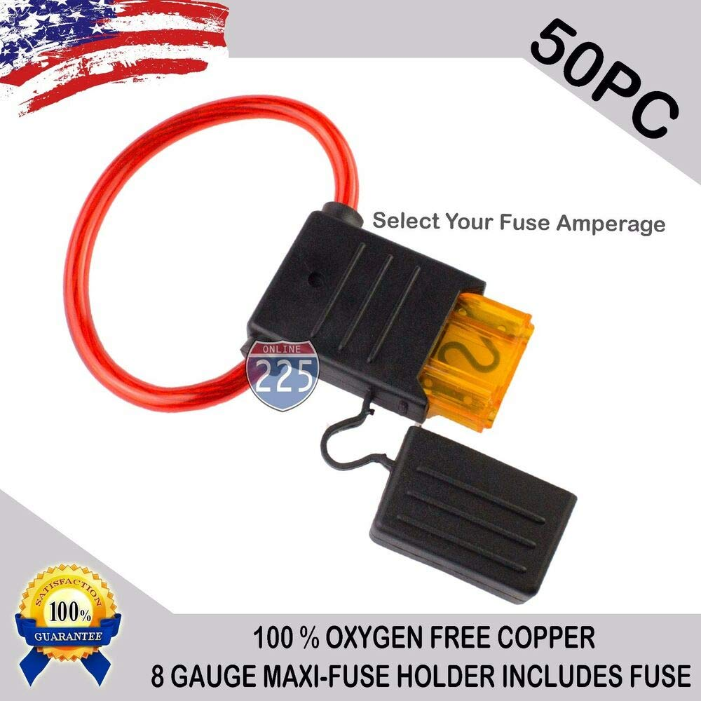 50 Pack - 8 Gauge MAXI Inline Blade Fuse Holder 100% OFC Copper Wire + 20A - 120A