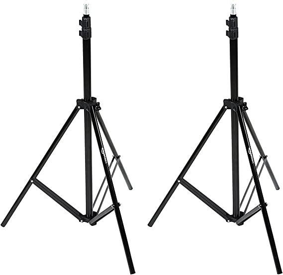 AmazonBasics Aluminum Light Photography Tripod Stand with Case - Pack of 2