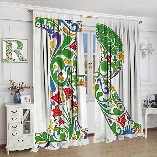 smallbeefly Letter R Patterned Drape For Glass Door Floral Themed Uppercase R Symbol Writing Systems Multicolored Art Design Print Decor Curtains By 108
